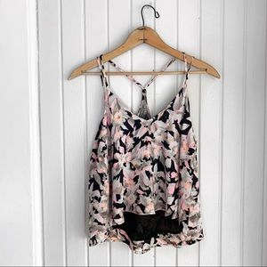ASTR Floral Lace Back Sleeveless Top